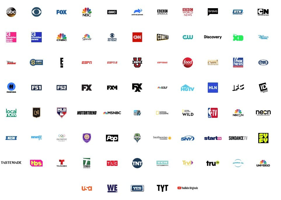 YouTube TV channels
