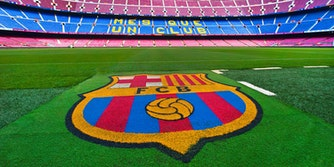Barcelona FC logo at Camp Nou Stadium