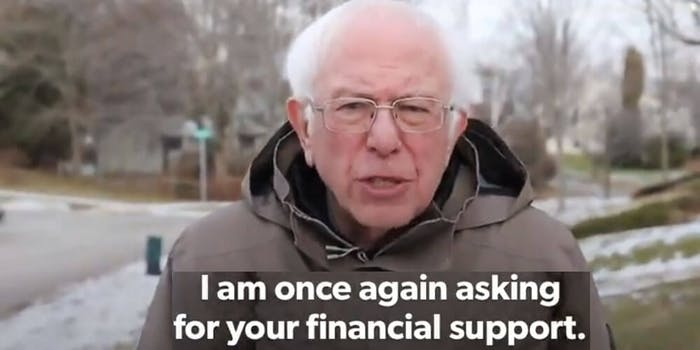 bernie sanders I am once again asking for your financial support meme