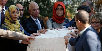 Jeff Bezos at memorial of Jamal Kashoggi