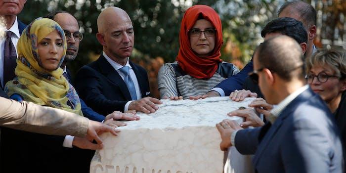 Jeff Bezos at memorial of Jamal Kashoggi