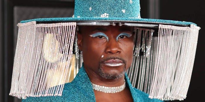 Billy Porter blue fringe hat