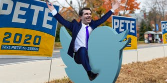 Pete Buttigieg riding a Twitter bird pete buttigieg twitter astroturfing