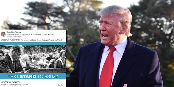donald trump spanish campaign ads facebook