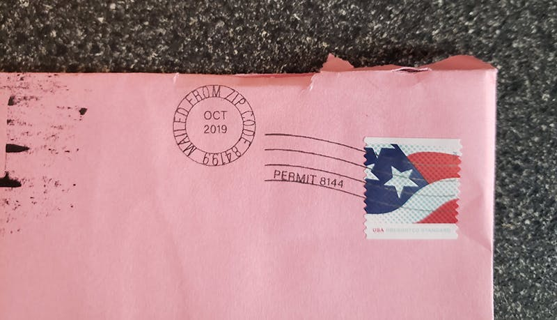 envelope with return address removed jenny b gift card package