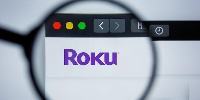 Roku logo under microscope