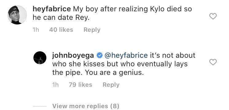 john boyega instagram comment rey