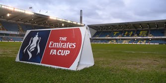 FA Cup signage on soccer field