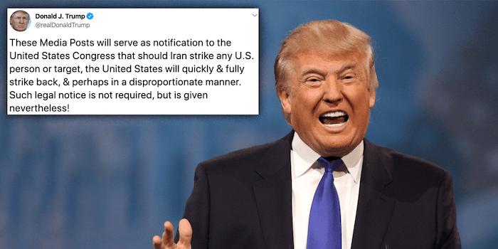 trump congress tweet iran