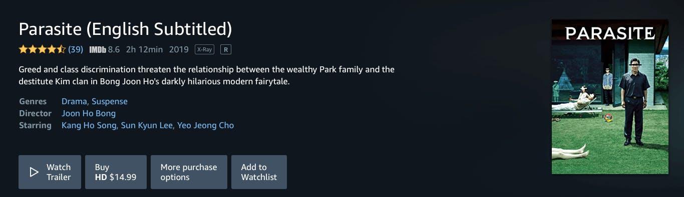 watch parasite rent buy on Amazon