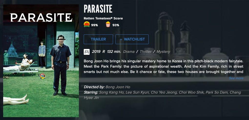 watch parasite rent buy on Fandango Now