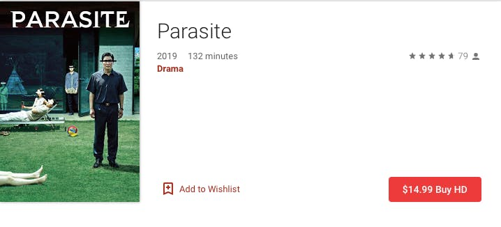 watch parasite rent buy on Google Play