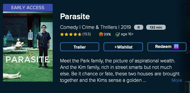 watch parasite rent buy on Vudu