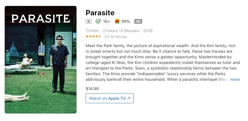 watch parasite rent buy on iTunes