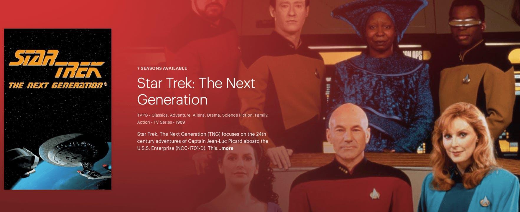 watch Star Trek the next generation on Hulu