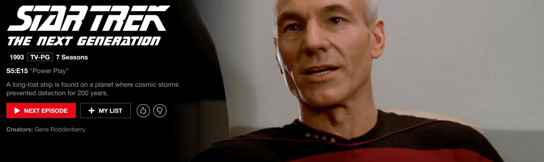 watch star Trek the next generation on Netflix