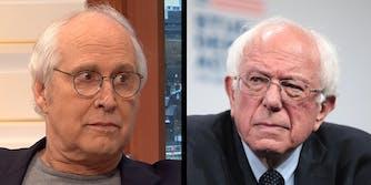 Bernie Sanders Chevy Chase Politico Illustration