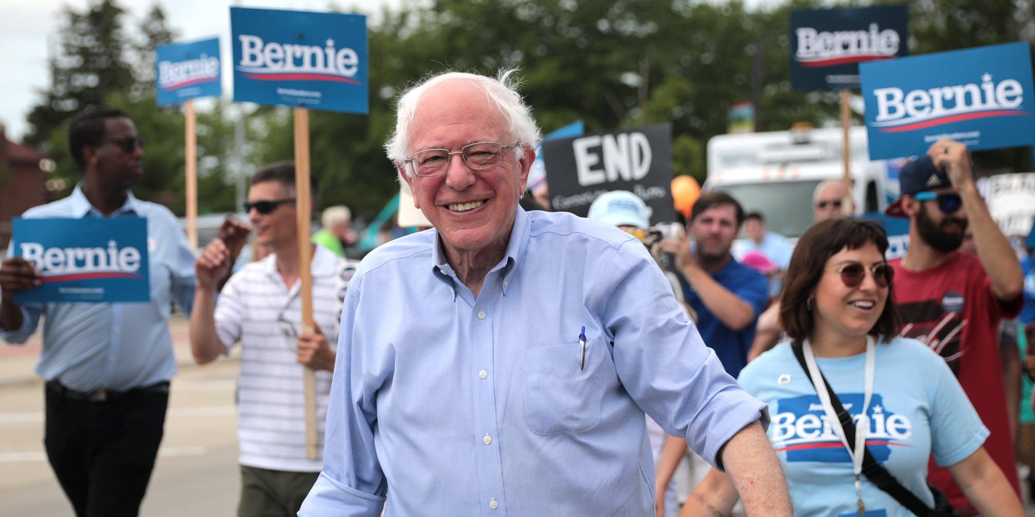 Bernie Sanders looking up at the sky meme