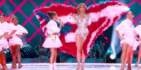 Jennifer Lopez appears in a Puerto Rican flag