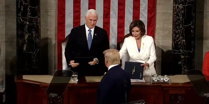 Donald Trump Nancy Pelosi State of the Union Handshake