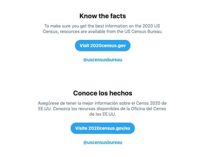 Twitter 2020 Census Prompt