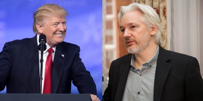 President Donald Trump and Wikileaks founder Julian Assange