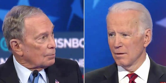 Mike Bloomberg and Joe Biden on the debate stage