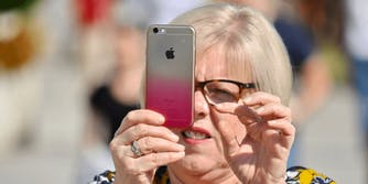 woman using iphone