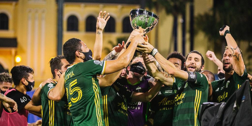 Portland Timbers celebrating MLS is Back Tournament Championship stream mls live