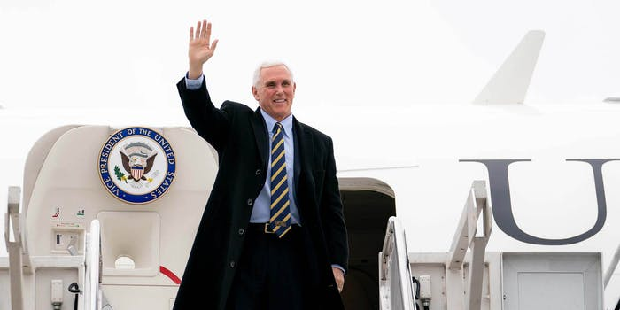 Vice President Mike Pence exiting Air Force One