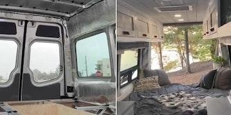 A van turned home showcased on TikTok