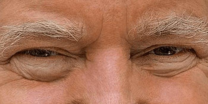 A closeup of President Donald Trump's face.