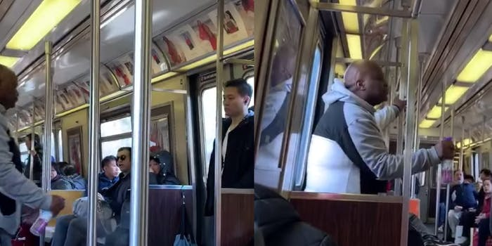 Screengrabs show the attacker spray Febreze on an Asian man on the subway