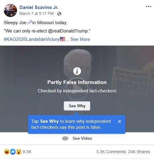 Dan Scavino Biden Clip Facebook manipulated media