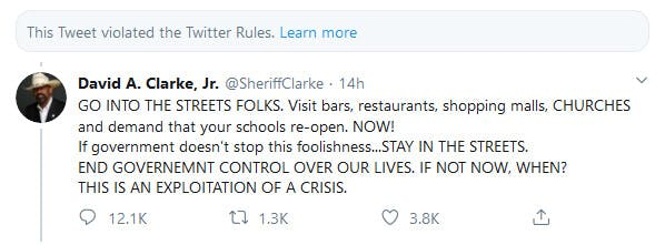 David Clarke Coronavirus Twitter Rules