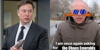 Elon Musk next to Bernie Sanders meme
