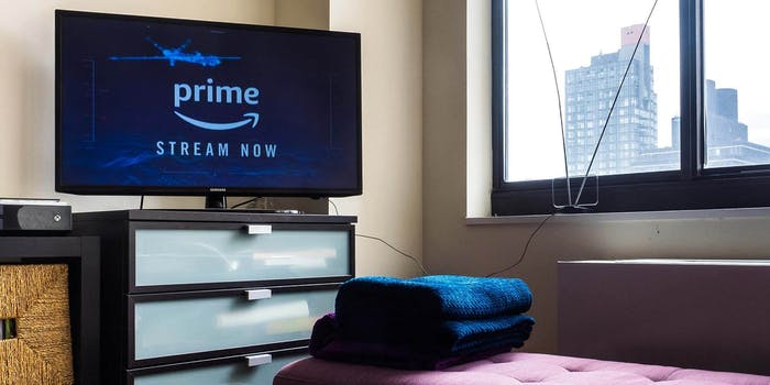 An apartment with a TV showing Amazon Prime