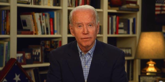 Joe Biden speaking from his home