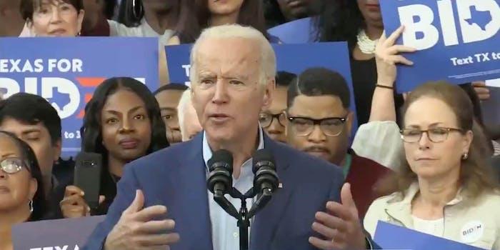 Democratic candidate Joe Biden speaking in Texas