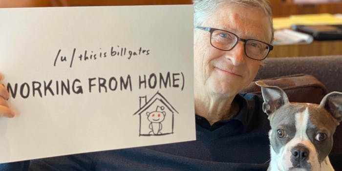 Bill Gates holding a sign for a Reddit AMA