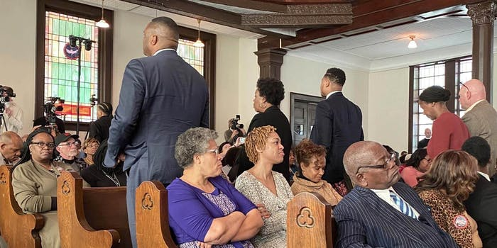 People at Selma church turning their backs on Michael Bloomberg