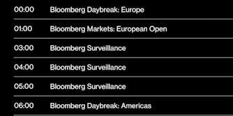 Bloomberg TV schedule
