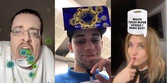 Three individuals using Instagram coronavirus filters