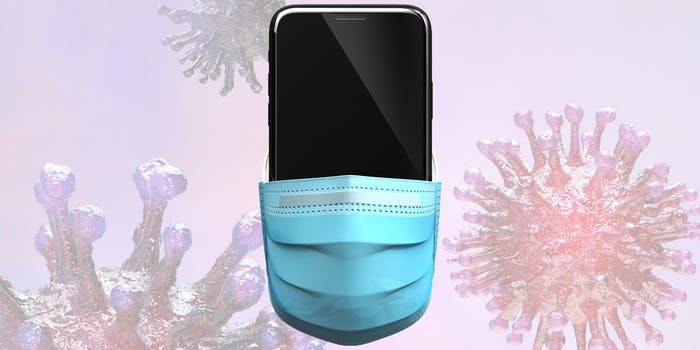 smartphone with face mask over coronavirus background
