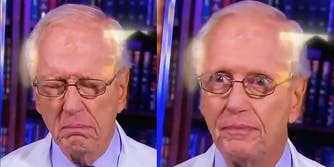 A doctor trying to hold in a sneeze on CNN