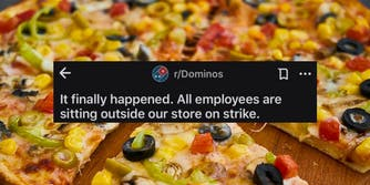 A Reddit post regarding Domino's pizza above a pizza