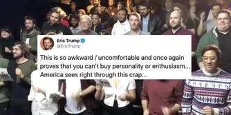 A tweet from Eric Trump on top of a comedy group singing