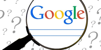 A magnifying glass over the Google search engine