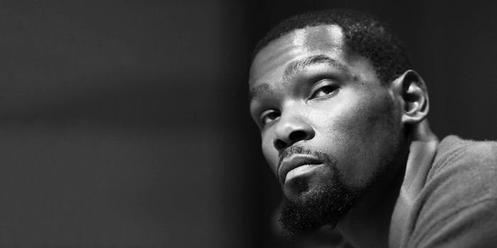 A black and white photo of NBA player Kevin Durant