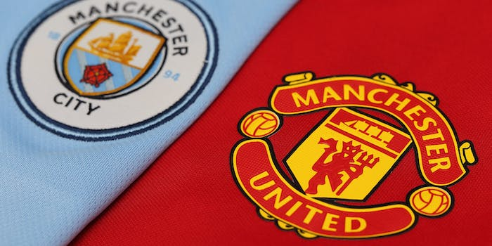 Manchester United and Manchester City logos